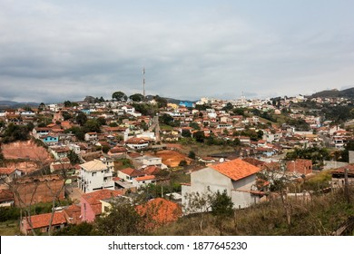 CUNHA, SAO PAULO, BRAZIL - AUG 19, 2019: Cityscape view of the north side of Cunha. View from Rua Quatro street, a narrow dirt road on the outskirts of town.