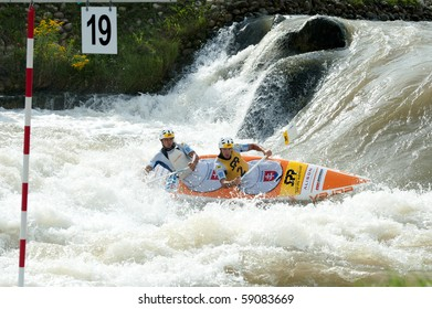 CUNOVO, SLOVAKIA - AUGUST 15: European Canoe Slalom Championships winners in C2 Men category Ladislav and Peter SKANTAR (SVK) August 15, 2010 in Cunovo, Slovakia