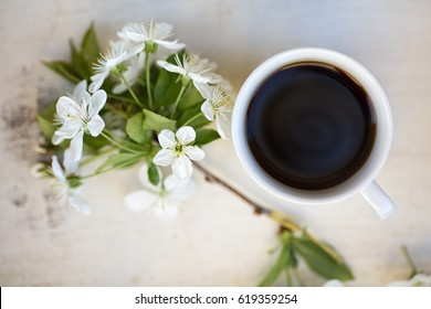 Cup of black coffee on a light colored wooden tray together with cherry twig in a bloom, view from above
