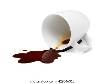 cup of black coffee spilling causing stained