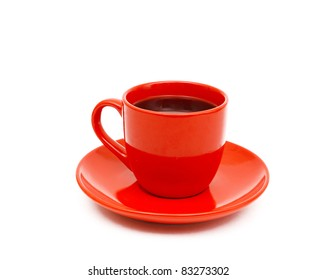 cup of black coffee white background red mug