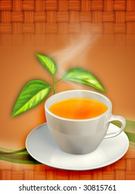 A cup of black tea and some tea leaves. Digital illustration.