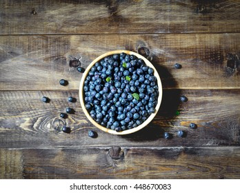 Cup of blueberry. Top view