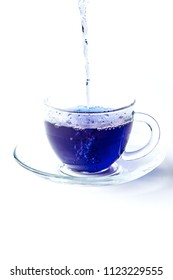 cup of butterfly pea tea  isolated on white background