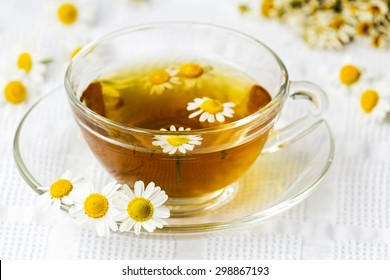 Cup of camomile tea with camomile flowers