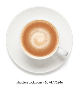 Cup of cappuccino, isolated on the white background, clipping path included.