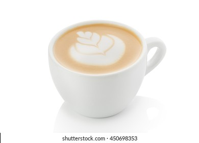 a cup of cappuccino on a white background. Cappuccino with latte art elements. Figure rosette. Suitable for design training materials for baristas. Suitable for menu design in a coffee shop