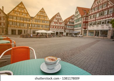 The cup of Cappuchino  in street cafe, Herrenberg, Germany