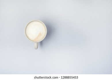 Cup of Cappuchino Top View Blue Background Tasty Coffee Copy Space