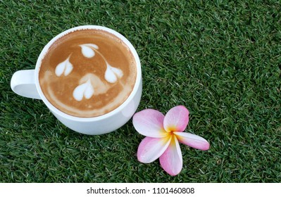 a cup of capuchino coffee on green grass backdroun