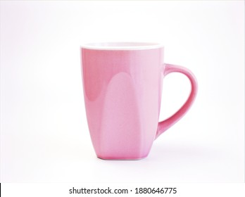 Cup ceramic isolated on white background ,pink tea and coffee cup