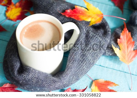 ff06a8ac916 Cup Cocoa Autumn Leaves Abstract Still Stock Photo (Edit Now ...