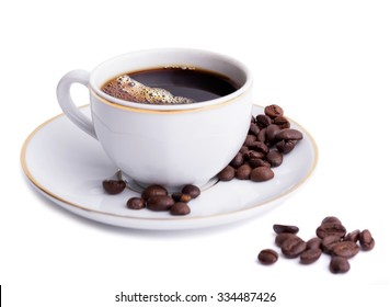 Cup with coffe and beans on white background