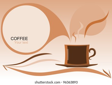Cup of coffee in an abstract design with a text box