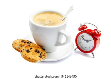 cup of coffee and alarm clock on white background