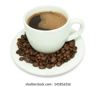 Cup of Coffee and coffee bean on saucer