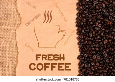 Cup of coffee and coffee beans background illustrtion design.