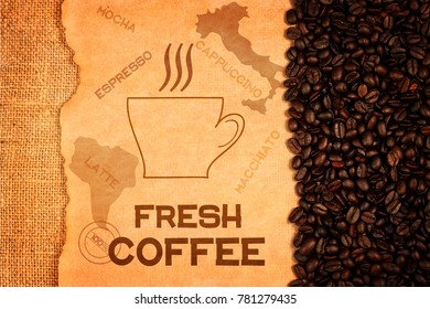 Cup of coffee, beans and inscription on old paper. Food illustration poster design.