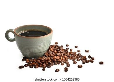 Cup of coffee and coffee beans isolated on white background