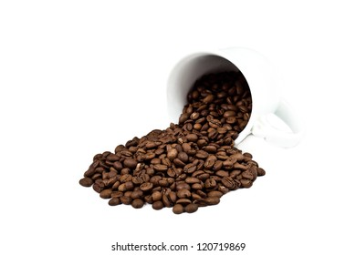 a cup with coffee beans isolated on white background