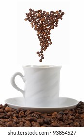 Cup with coffee beans isolated on white background. coffee beans symbolize the couple