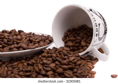 cup of coffee and coffee beans, isolated over white