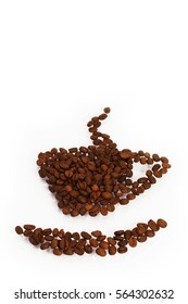cup of coffee beans on a white background