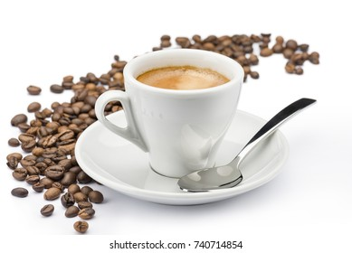 cup of coffee with beans on white background