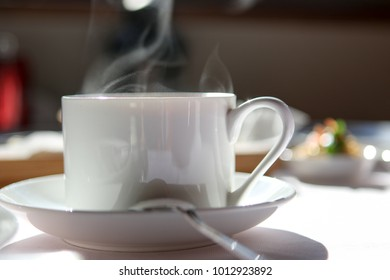 A cup of coffee in the cafe