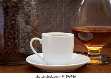 cup of coffee and cognac