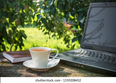 cup of coffee, a computer on a wooden table in the garden on a sunny afternoon with a copy space, a concept of working in nature freelancing