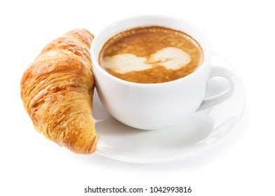 cup of coffee and croissant isolated on white background