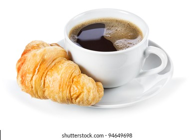 cup of coffee with croissant on white background