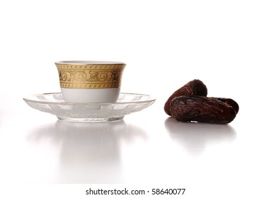 Cup of coffee and dates