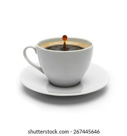 cup of coffee with drop impact on white background