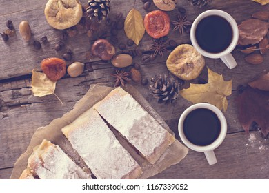 A cup of coffee with espresso, pie and autumn leaves. autumn. Autumn decor, mood, autumn still life.