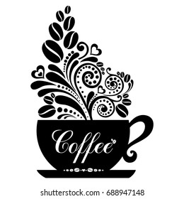 Cup of coffee with floral design elements isolated on white background. Menu for restaurant, cafe, bar, coffee shop, tea-house.  Illustration