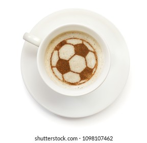 A cup of coffee with foam and powder in the shape of a soccer ball.(series)