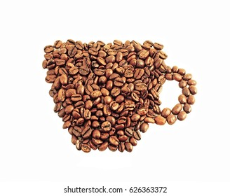 cup from coffee grains on a white background