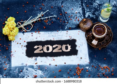 a cup of coffee with Happy New Year 2020