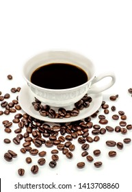 A cup of coffee or hot Americano and coffee beans on a white background