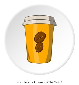 Cup of coffee icon in cartoon style isolated on white circle background. Drink symbol  illustration