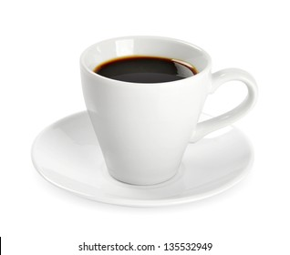 Cup of coffee isolated on white background. Clipping path included.