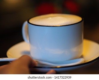 A cup of coffee latte in a cozy cafe,China