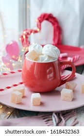 Cup of coffee with meringues and marshmallows, Turkish delight on a plate, hearts, illumination, against the background of a window, homeliness, Valentine's day, romantic greeting, happy birthday