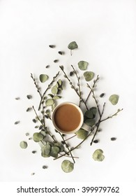 Cup of coffee with milk, pussy-willow and dried branches and leaves at white background. Flat lay