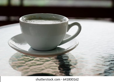 A cup of coffee in the morning.