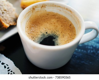 A cup of coffee in the morning, Close up