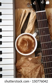 cup of coffee and musical instruments