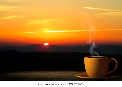 cup from coffee on a sunset